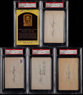 Baseball Collectibles:Others, Baseball Greats Signed Index Cards, Etc. Lot of 5. ...