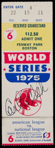 Baseball Collectibles:Tickets, 1975 World Series Game 6 Full Ticket from Carlton Fisk's HistoricHome Run - Signed by Fisk....