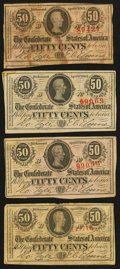 Confederate Notes:1863 Issues, T63 50 Cents 1863 Four Examples.. ... (Total: 4 notes)