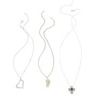 Diamond, Sapphire, White Gold, Sterling Silver, Vermeil Pendant-Necklaces