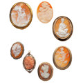 Estate Jewelry:Cameos, Shell Cameo, Coral Cameo, Diamond, Marcasite, Gold, Silver, SilverVermeil, Base Metal Jewelry. ... (Total: 7 Items)