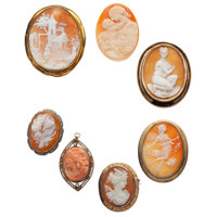 Shell Cameo, Coral Cameo, Diamond, Marcasite, Gold, Silver, Silver Vermeil, Base Metal Jewelry