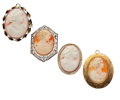 Estate Jewelry:Cameos, Shell Cameo, Gold, Base Metal Jewelry. ... (Total: 4 Items)