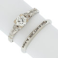 Estate Jewelry:Rings, Diamond, White Gold Rings. ... (Total: 2 Items)