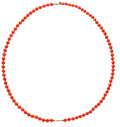 Estate Jewelry:Necklaces, Coral, Sterling Silver Vermeil Necklace. ...
