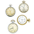 Timepieces:Pocket (post 1900), Hamilton, Private Label Illinois & Two Russian Watches. ...(Total: 4 Items)