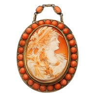 Shell Cameo, Coral, Silver Vermeil Brooch