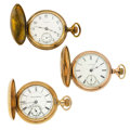 Timepieces:Pocket (post 1900), Three 18 Size Hunters Case Watches. ... (Total: 3 Items)