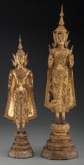 Asian:Other, Two Thai Gilt Bronze Standing Buddha Figures, late 19th-early 20thcentury. 28-1/2 inches high (72.4 cm) (taller). ... (Total: 2Items)
