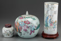 Asian:Chinese, Three Chinese Ceramics: Jars and Brushpot, 19th-20th century. Marks: (character marks). 10-3/4 inches highest (27.3 cm) (bru... (Total: 6 Items)