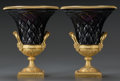 Decorative Arts, French:Other , A Pair of Neoclassical-Style Gilt Bronze Mounted Amethyst Cut-GlassVases, early 20th century. Marks: FRANCE, PF. 8-3/8 ...(Total: 2 Items)