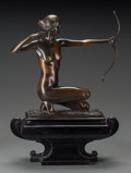 Sculpture, Frank Lynn Jenkins (British, 1870-1927). The Huntress, 1921. Bronze with brown patina. 11-1/2 inches (29.2 cm) high on a...