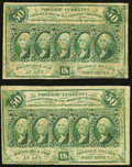 Fractional Currency, Fr. 1312 50¢ First Issue Fine Two Examples.. ... (Total: 2 notes)