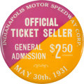 Miscellaneous Collectibles:General, 1931 Indianapolis 500 Ticket Seller Button....