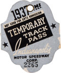 Miscellaneous Collectibles:General, 1937 Indianapolis 500 Temporary Track Pass....
