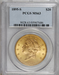 1895-S $20 MS63 PCGS. PCGS Population (624/137). NGC Census: (464/114). Mintage: 1,100,000. Numismedia Wsl. Price for NG...