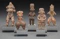 Pre-Columbian:Ceramics, Five Miniature Pre-Columbian Figures . c. 1200 BC - 900 AD...(Total: 5 Items)