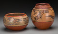 American Indian Art:Pottery, Two Santa Clara Polychrome Jars. Lela and Van Gutierrez andMargaret and Luther Gutierrez. c. 1950 and 1975... (Total: 2 Items)