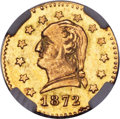 California Fractional Gold , 1872 25C Washington Round 25 Cents, BG-818, Low R.4, MS65 NGC....