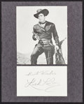 "Movie Posters:Western, Lash La Rue (1970s). Autographed Card (3"" X 5""). Western.. ..."
