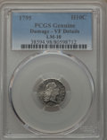 Early Half Dimes, 1795 H10C V-4, LM-10, R.3 -- Damage -- PCGS Genuine. VF Details....