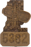 Miscellaneous Collectibles:General, 1958 Indianapolis 500 Bronze Pit Badge. ...
