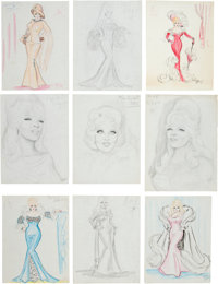A Mae West Enormous Group of Pencil Drawings by Craig Eadie, 1960s
