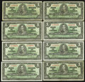 Canadian Currency: , BC-21c $1 1937. BC-21d $1 1937 Seven Examples. ... (Total: 8 notes)