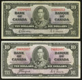Canadian Currency: , BC-24b $10 1937. BC-24c $10 1937. ... (Total: 2 notes)