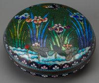 A Japanese Cloisonné Covered Box, 20th century 1-5/8 inches high x 4-1/4 inches diameter (4.1 x 10.8 cm)