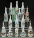 Ceramics & Porcelain, Fifteen Painted Milk Glass Shaving Bottles: Bay Rum, Toilet Water, Witch Hazel, late 19th-20th century. Marks: (... (Total: 50 Items)
