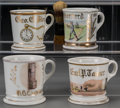 Ceramics & Porcelain, American:Antique  (Pre 1900), Four Painted Porcelain Occupational Shaving Mugs: Baseball,Telegraph, Telephone, Watchmaker, late 19th-20th cen... (Total:4 Items)