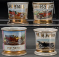 Ceramics & Porcelain, Four Painted Porcelain Shaving Mugs with Automobile Motifs, late 19th-20th century. Marks: (various). 3-7/8 inches highest (... (Total: 4 Items)