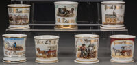 Seven Painted Porcelain Occupational Shaving Mugs with Horse and Buggy Motif, late 19th-20th century Marks: (vario