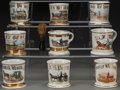 Ceramics & Porcelain, Nine Painted Porcelain Occupational Shaving Mugs with Horse and Buggy Motif: Ice, Grocer, Coal, Milk, late 19th-... (Total: 9 Items)