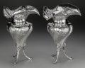Silver Holloware, French:Holloware, A Pair of French Silver Footed Trumpeted Vases, circa 1860. Marks:(Minerva), (effaced mark). 14-1/2 inches high x 9-3/4 inc...(Total: 2 Items)