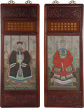 Works on Paper, Chinese School (20th Century). Pair of Ancestor Panels. Watercolor and gouache on paper, each. 33 x 19-1/2 inches (83.8 ... (Total: 2 Items)