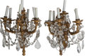 Decorative Arts, Continental:Lamps & Lighting, A Pair of Continental Gilt Bronze and Crystal Seven-Light Sconces,early 20th century. 19-1/2 inches high (49.5 cm) (excludi...(Total: 2 Items)