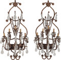 Decorative Arts, Continental:Lamps & Lighting, A Large Pair of Wrought Iron and Rock Crystal Five-Light Sconces,20th century. 52 h x 23 w inches (132.1 x 58.4 cm). ... (Total: 2Items)