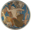 Fine Art - Painting, European:Modern  (1900 1949)  , French School (20th Century). Art Deco Dancers. Mixed mediawith mother of pearl on panel. 67 inches (170.2 cm) (diamete...