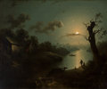 19th Century European:Landscape, Attributed to Henry Pether (British, 1790-1890). Watching theMoonrise. Oil on canvas. 20 x 24 inches (50.8 x 61 cm). ...