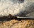 19th Century European:Landscape, Attributed to Georges Michel (French, 1763-1843). A landscapewith an approaching storm. Oil on canvas. 25-3/4 x 32 inch...
