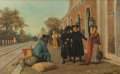 Fine Art - Painting, European:Other , Luigi Pastega (Italian, 1858-1927). Incident at the Station.Oil on canvas. 22-1/4 x 35-1/2 inches (56.5 x 90.2 cm). Sig...