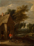Fine Art - Painting, European:Antique  (Pre 1900), School of David Teniers (Flemish, 1582-1649). A landscape with aman feeding chickens before a barn. Oil on canvas. 15 x...