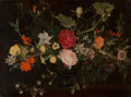 Fine Art - Painting, European:Antique  (Pre 1900), Flemish School (17th Century). A floral still life with roses,thistles and a datura in a dark footed glass (possibly a fr...
