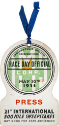 Miscellaneous Collectibles:General, 1933 Indianapolis 500 Race Day Official Press Pass....