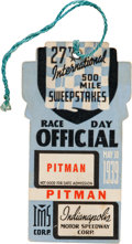 Autographs:Bats, 1939 Indianapolis 500 Race Day Official Pitman Pass....