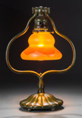 Art Glass:Tiffany , A Tiffany Studios Patinated Bronze Desk Lamp with Feather-PulledFavrile Glass Shade, Corona, New York, circa 1910. Marks to...(Total: 2 Items)