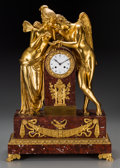 Clocks & Mechanical:Clocks, A Large French Neoclassical Gilt Bronze and Rouge Marble Table Clock, 19th century. Marks to clock face: Vacher, Boul'd de... (Total: 2 Items)