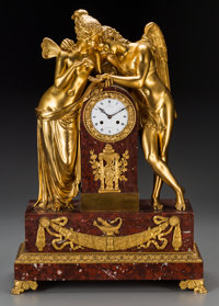 A Large French Neoclassical Gilt Bronze and Rouge Marble Table Clock, 19th century Marks to clock face: Vacher